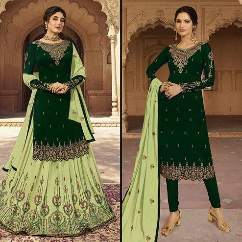 Glorious Green Colored Partywear Embroidered Georgette Dual Bottom Suit