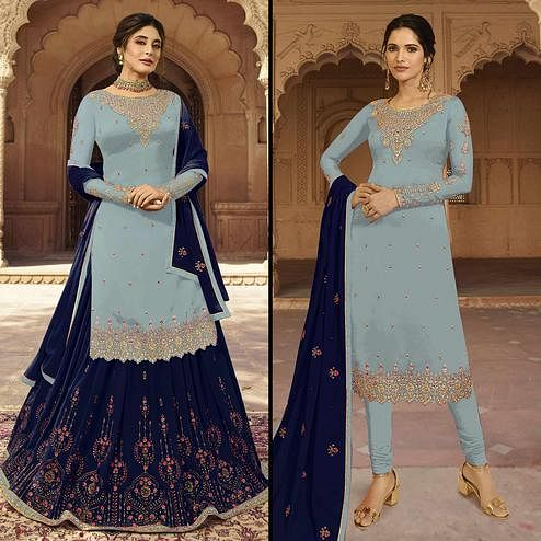Attractive Grayish Blue Colored Partywear Embroidered Georgette Dual Bottom Suit