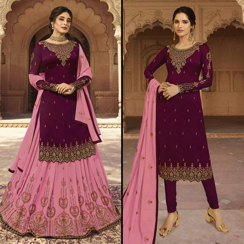 Beautiful Wine Colored Partywear Embroidered Georgette Dual Bottom Suit