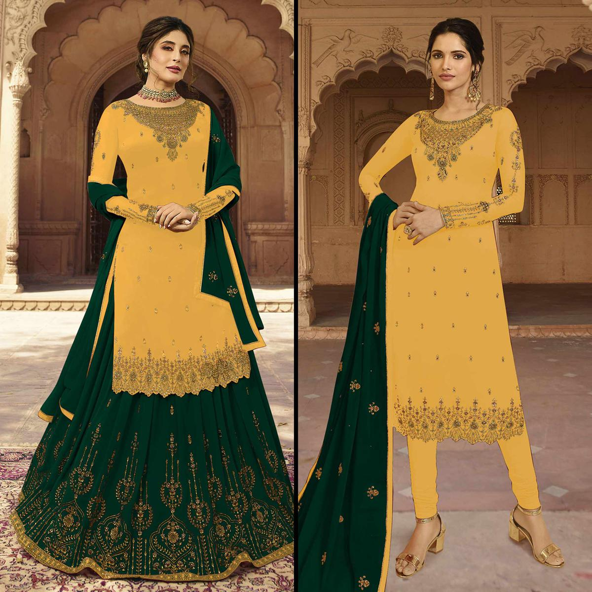 Graceful Yellow Colored Partywear Embroidered Georgette Dual Bottom Suit