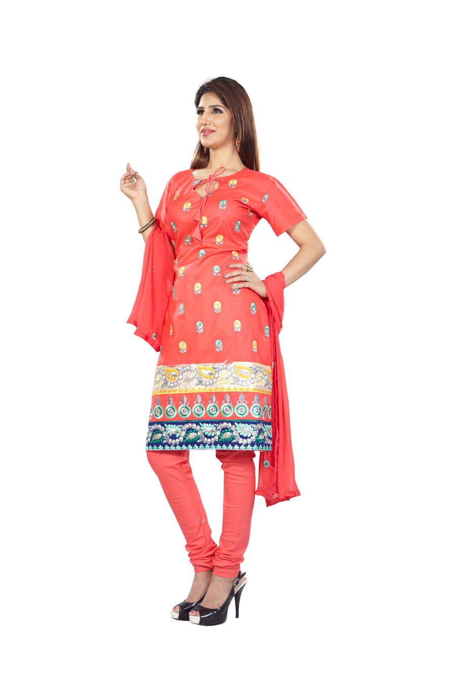 Red Pure Cotton Salwar Suit