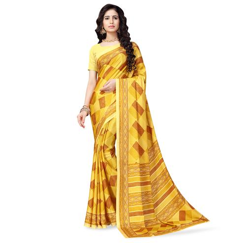 Flaunt Yellow Colored Casual Printed Crepe Saree