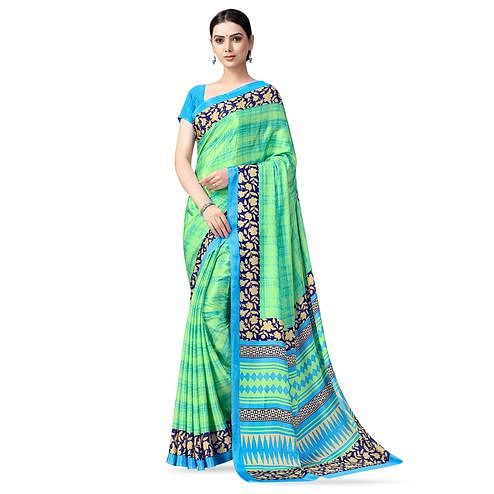 Breathtaking Florence Green Colored Casual Printed Crepe Saree