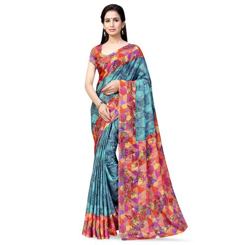 Marvellous Grey Colored Casual Printed Crepe Saree