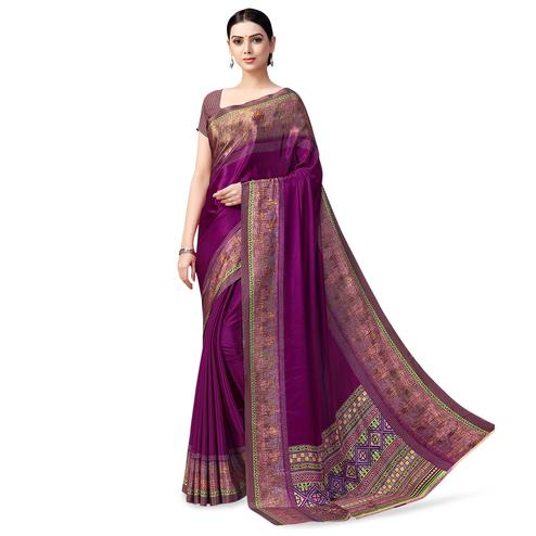 Mesmerising Purple Colored Casual Printed Crepe Saree