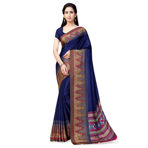 Preferable Navy Blue Colored Casual Printed Crepe Saree