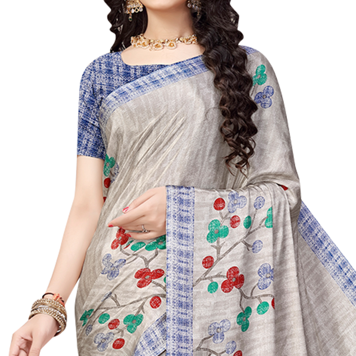 Hypnotic Light Grey Colored Casual Printed Crepe Saree