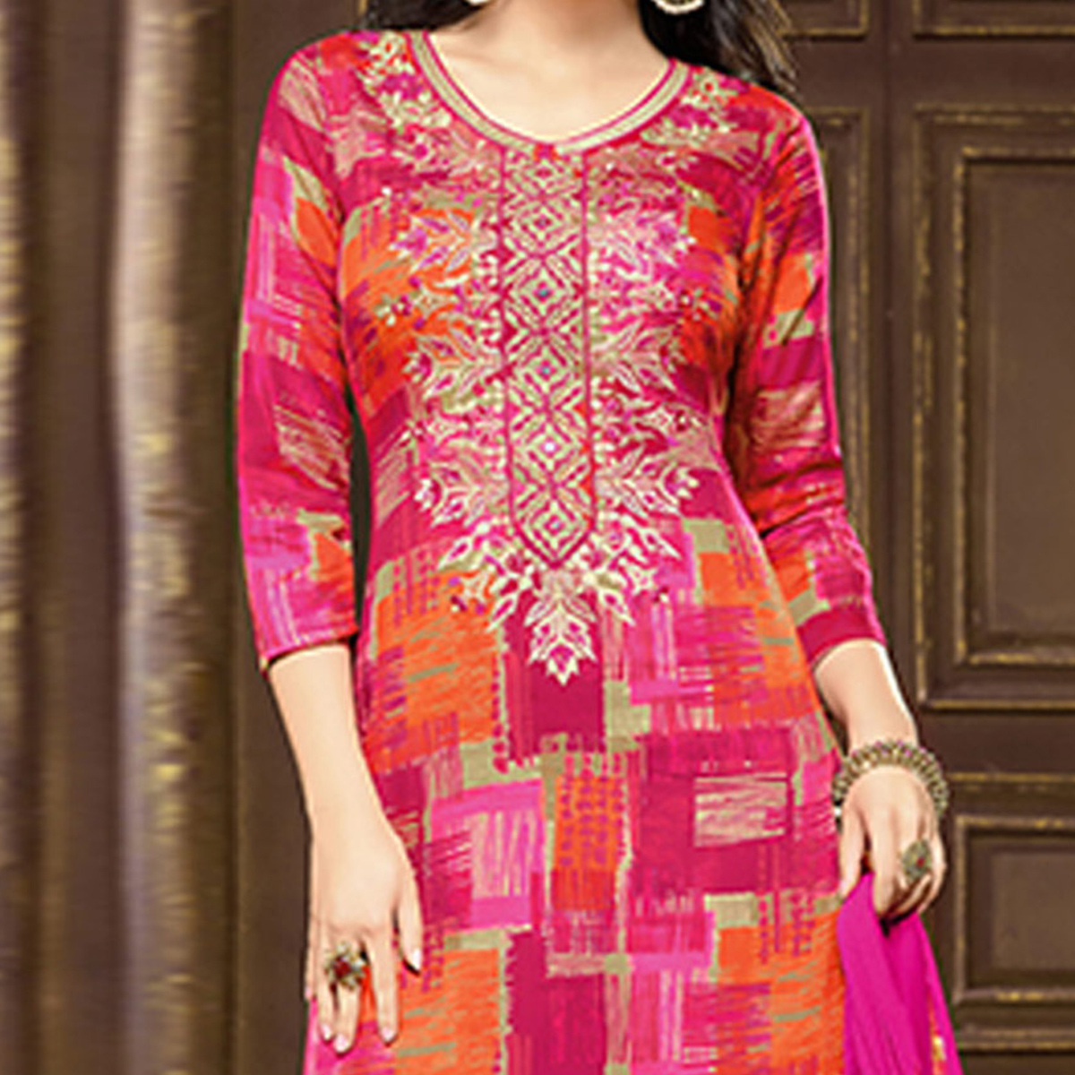 Magenta Orange Cotton Salwar Suit