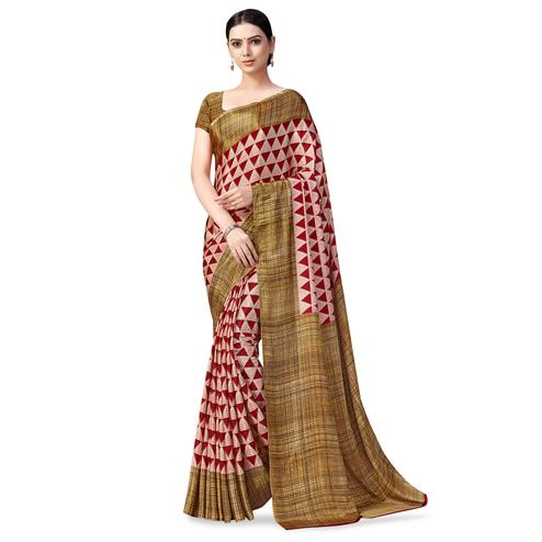 Blissful Red Colored Casual Printed Crepe Saree