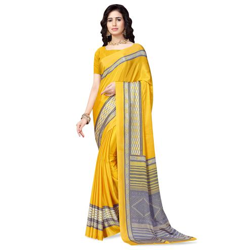 Eye-catching Yellow Colored Casual Printed Crepe Saree