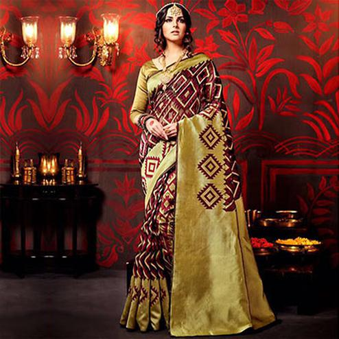 Maroon - Golden Print Work Designer Saree