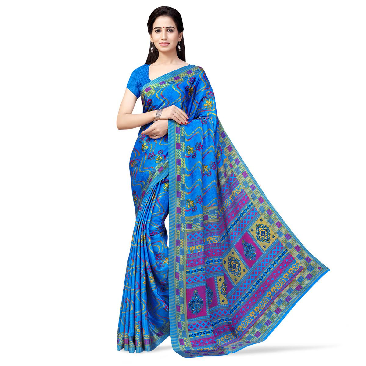 Jazzy Sky Blue Colored Casual Printed Crepe Saree