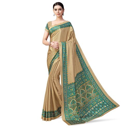 Delightful Beige-Blue Colored Casual Printed Crepe Saree
