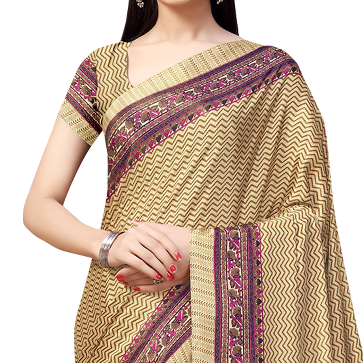 Engrossing Beige-Purple Colored Casual Printed Crepe Saree