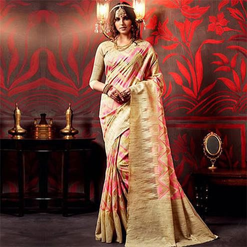 Golden - Pink Weaved Silk Designer Saree