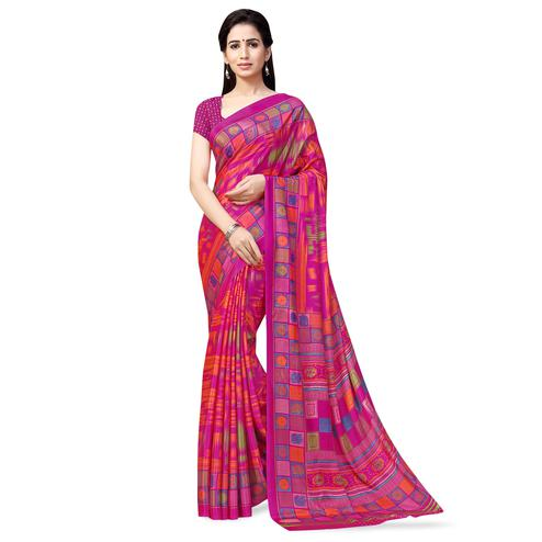 Innovative Pink Colored Casual Printed Crepe Saree