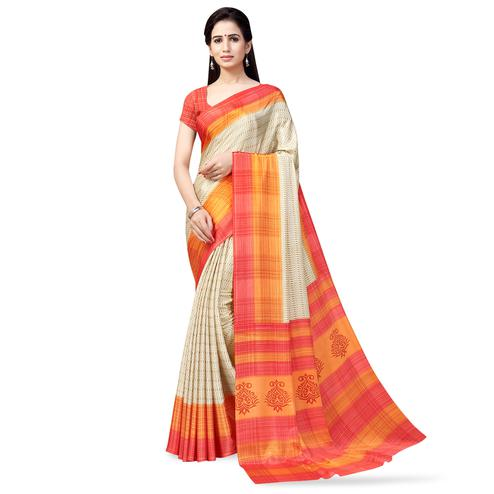 Eye-catching Cream-Orange Colored Casual Printed Crepe Saree