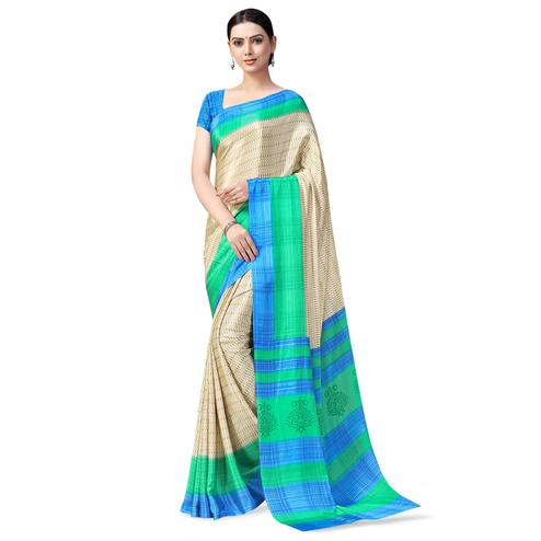 Fantastic Cream-Green Colored Casual Printed Crepe Saree