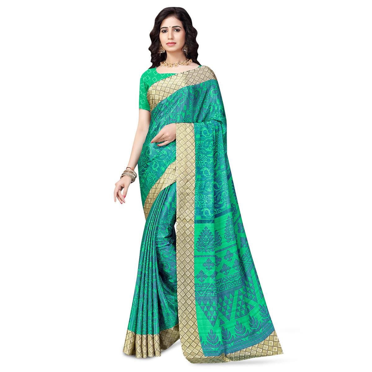 Blissful Turquoise Green Colored Casual Printed Crepe Saree
