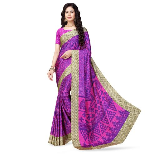 Ideal Purple Colored Casual Printed Crepe Saree