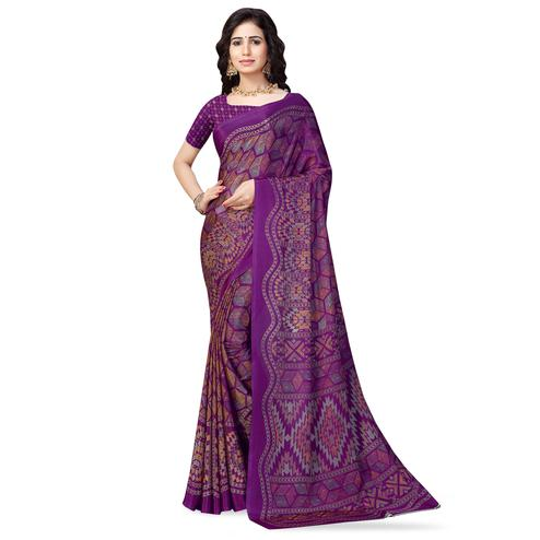 Imposing Dark Purple Colored Casual Printed Crepe Saree