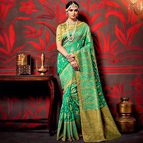 Green - Golden Paisley Design Saree