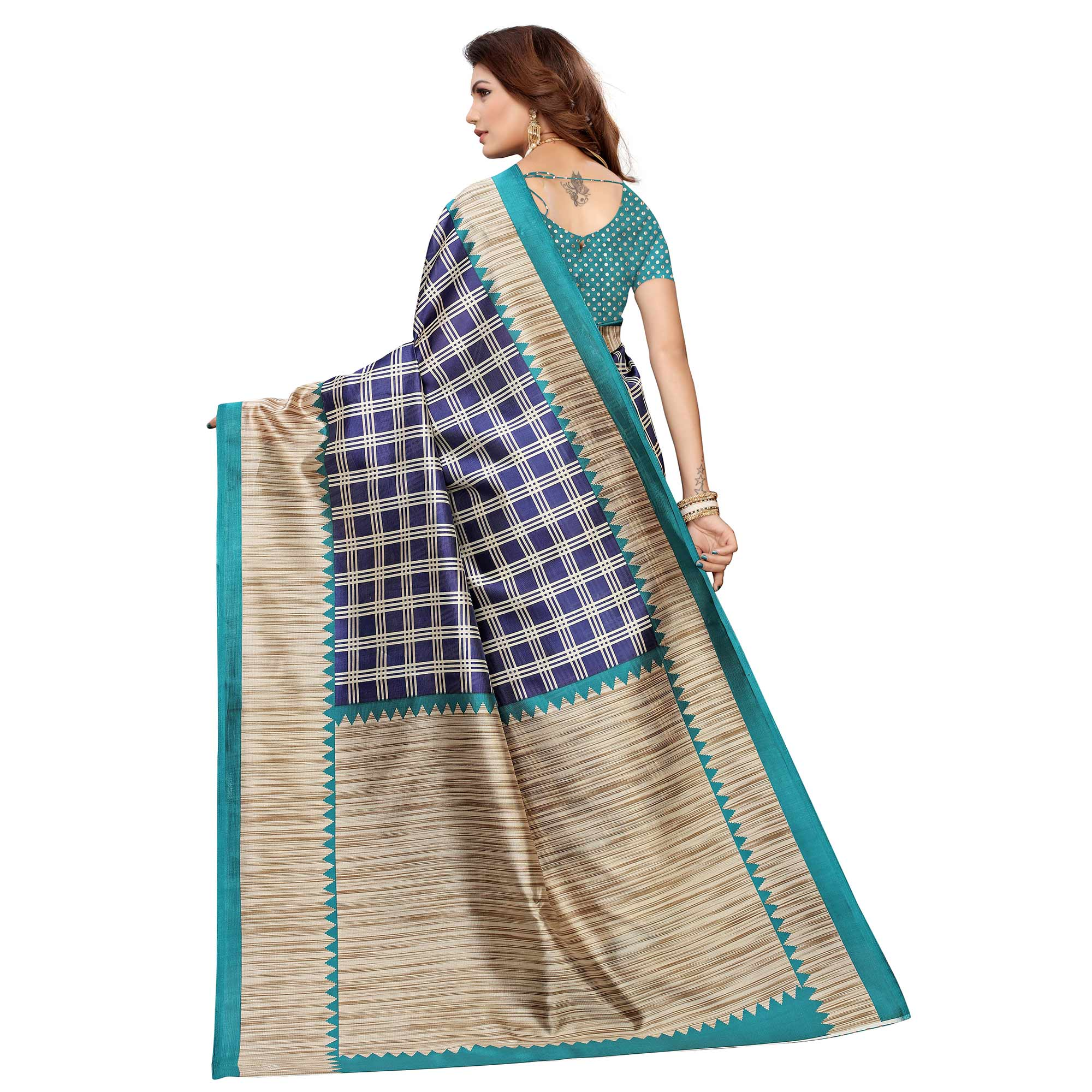 Glorious Blue Colored Casual Wear Printed Art Silk Saree
