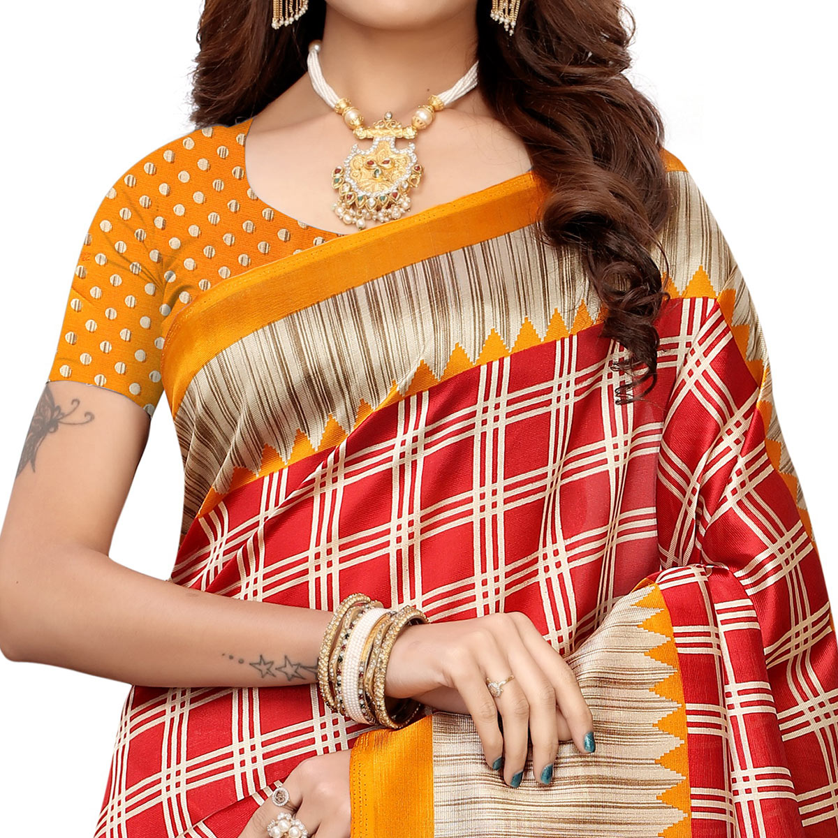 Attractive Red Colored Casual Wear Printed Art Silk Saree