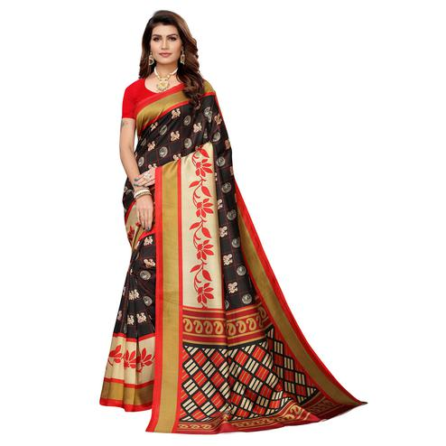 Jazzy Black Colored Casual Wear Printed Art Silk Saree