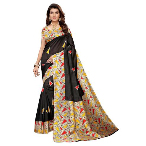 Delightful Black Colored Casual Wear Printed Art Silk Saree