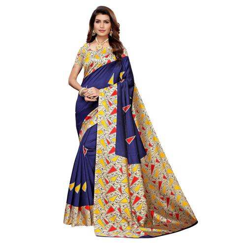 Engrossing Navy Blue Colored Casual Wear Printed Art Silk Saree
