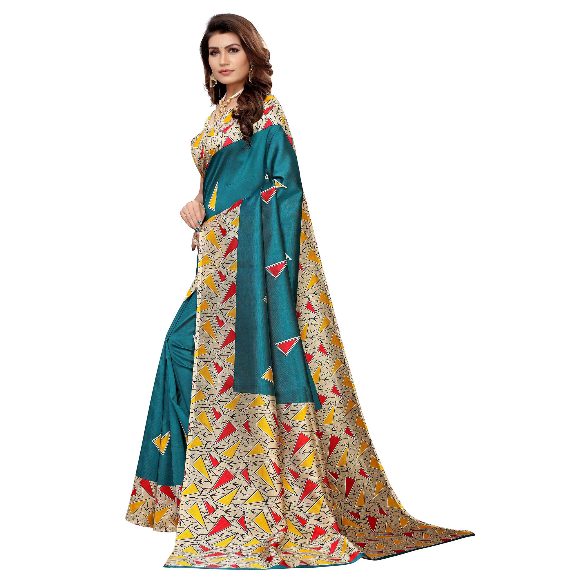 Captivating Teal Green Colored Casual Wear Printed Art Silk Saree