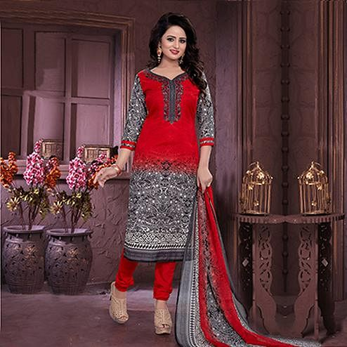 Red - Grey Printed Cotton Dress Material