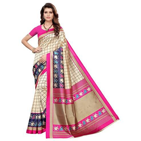 Innovative Cream-Pink Colored Casual Wear Printed Art Silk Saree