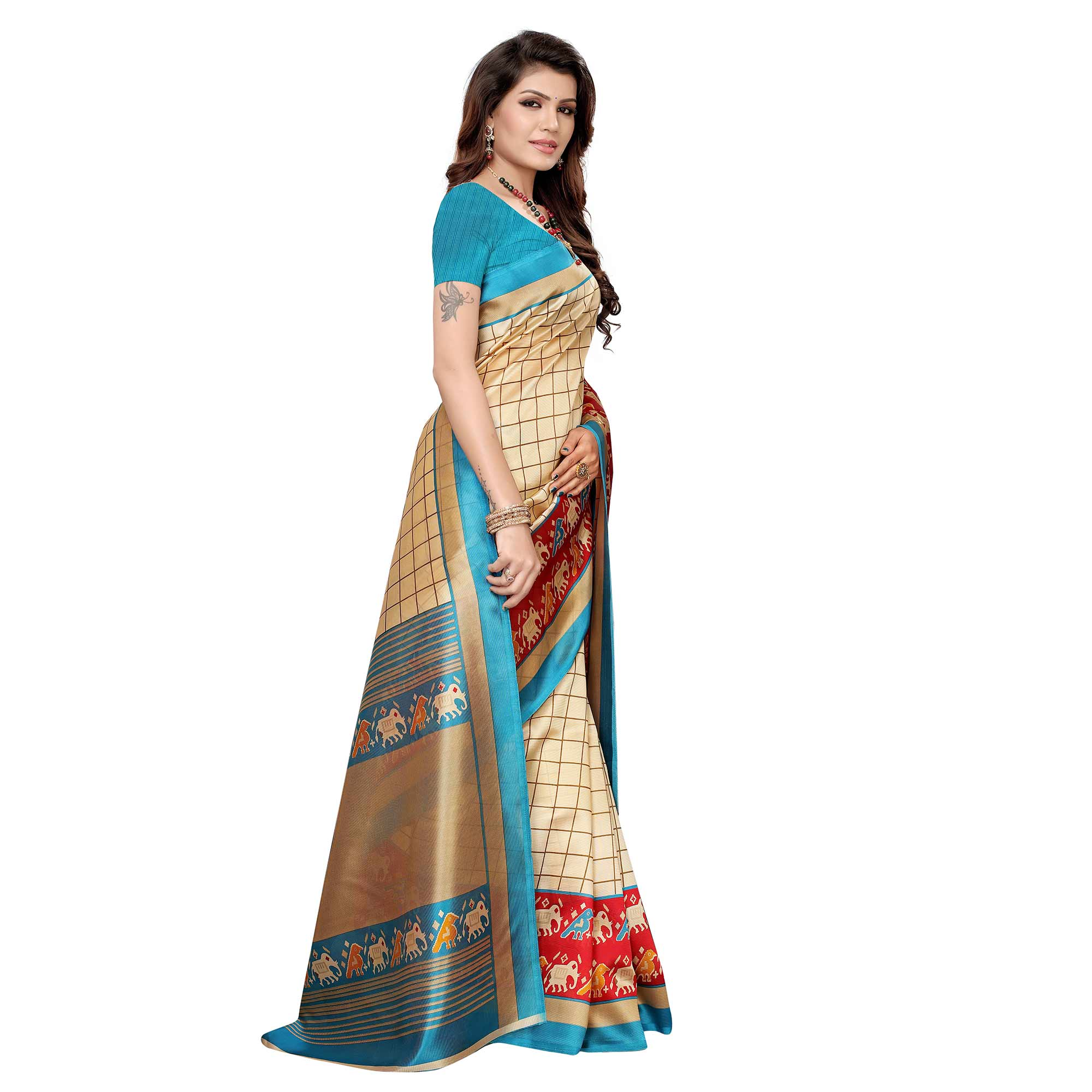 Fantastic Cream-Blue Colored Casual Wear Printed Art Silk Saree