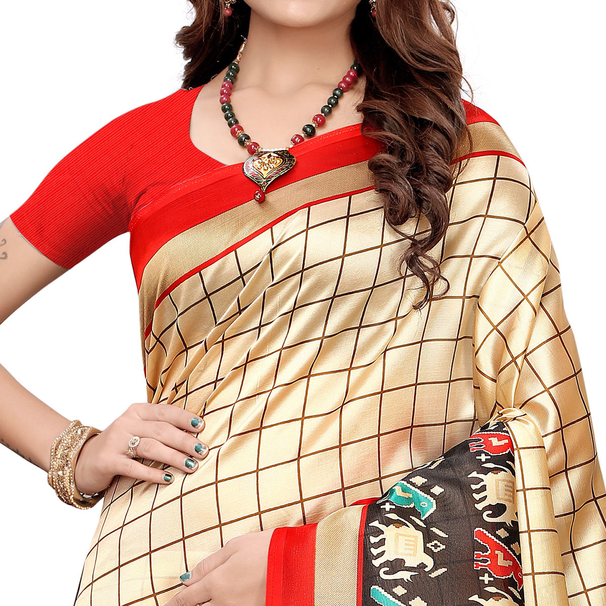 Amazing Cream-Red Colored Casual Wear Printed Art Silk Saree