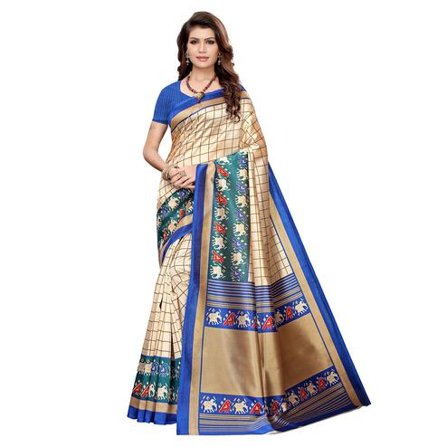 Gorgeous Cream-Blue Colored Casual Wear Printed Art Silk Saree