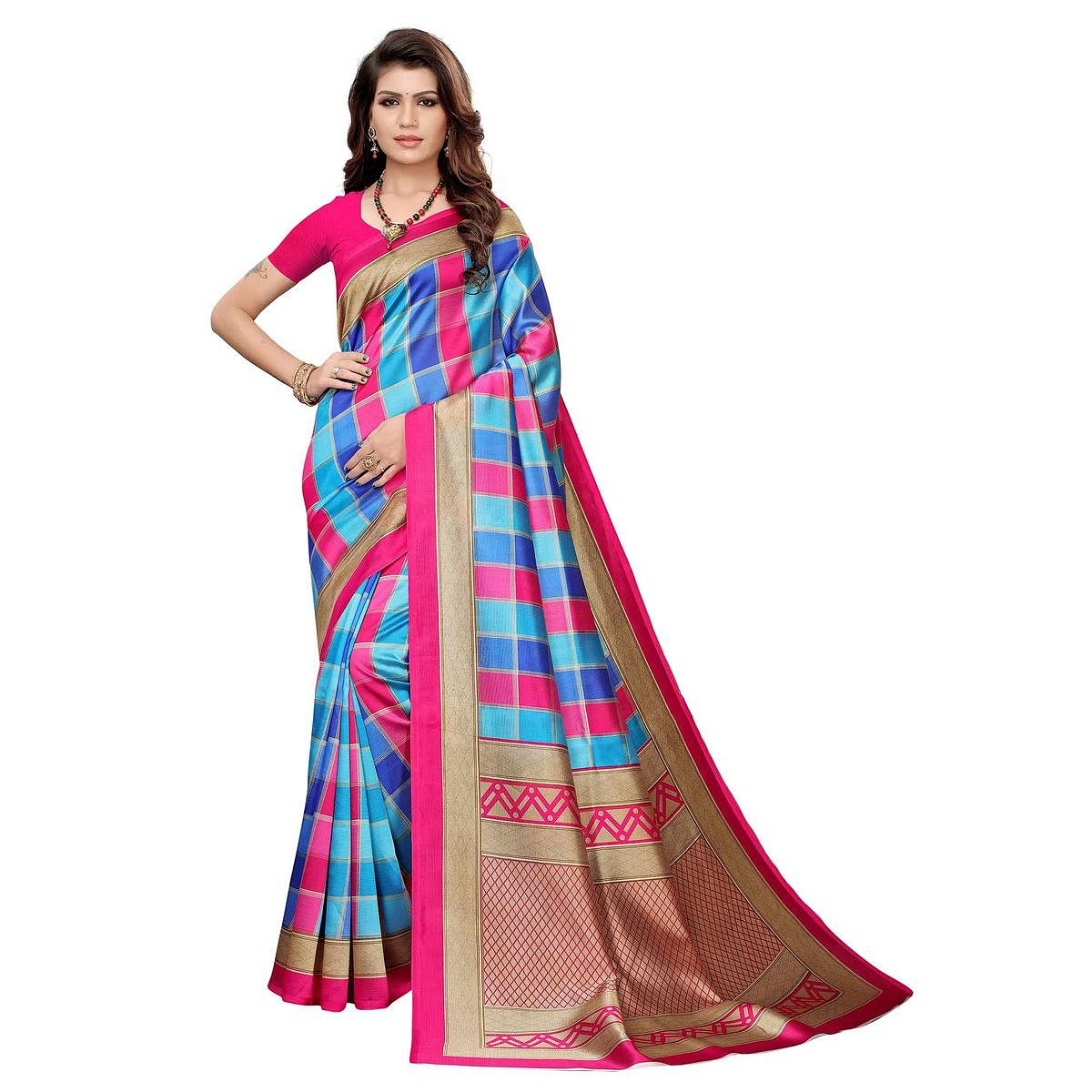 Blissful Blue-Pink Colored Casual Wear Printed Art Silk Saree