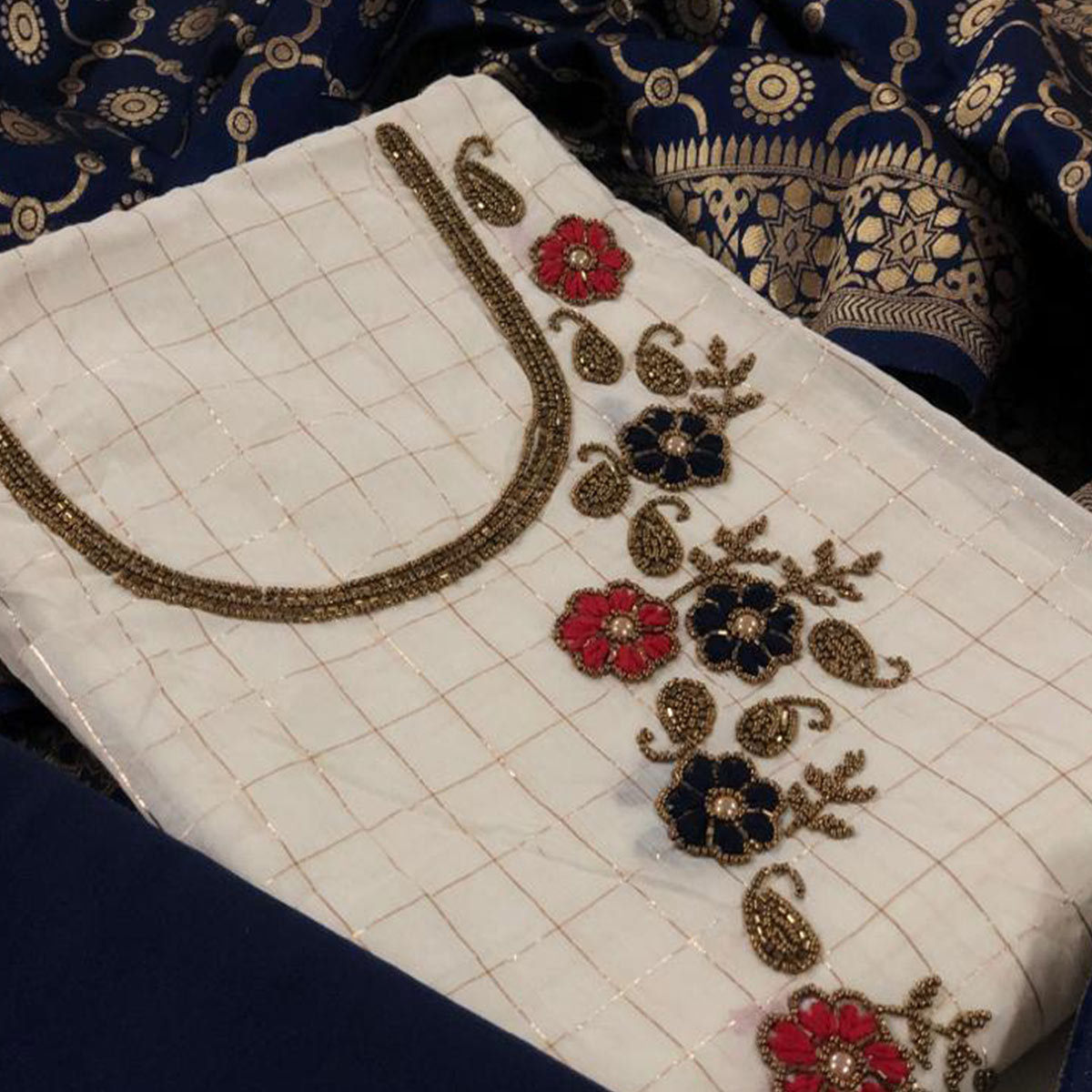 Desirable White-Navy Blue Colored Partywear Embroidered Modal Silk Dress Material