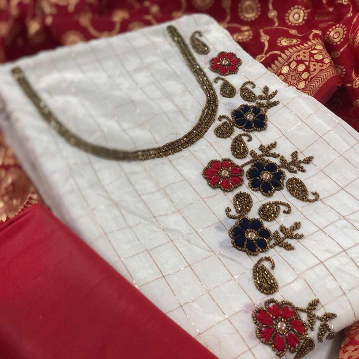 Exotic White-Red Colored Partywear Embroidered Modal Silk Dress Material