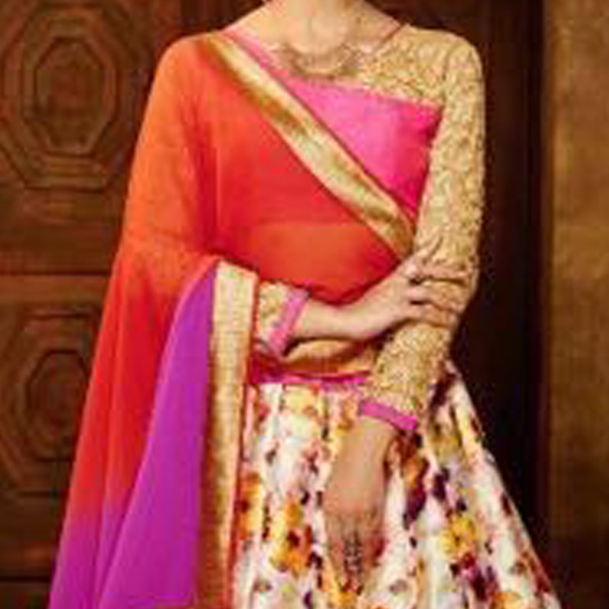 Cream - Pink Wedding Wear Lehenga Choli