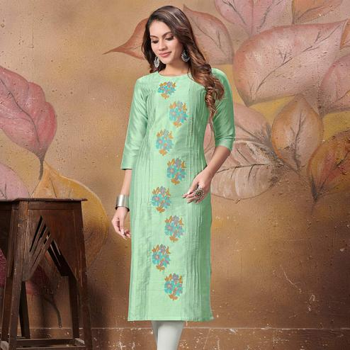 Graceful Green Colored Partywear Floral Embroidered Silk Kurti