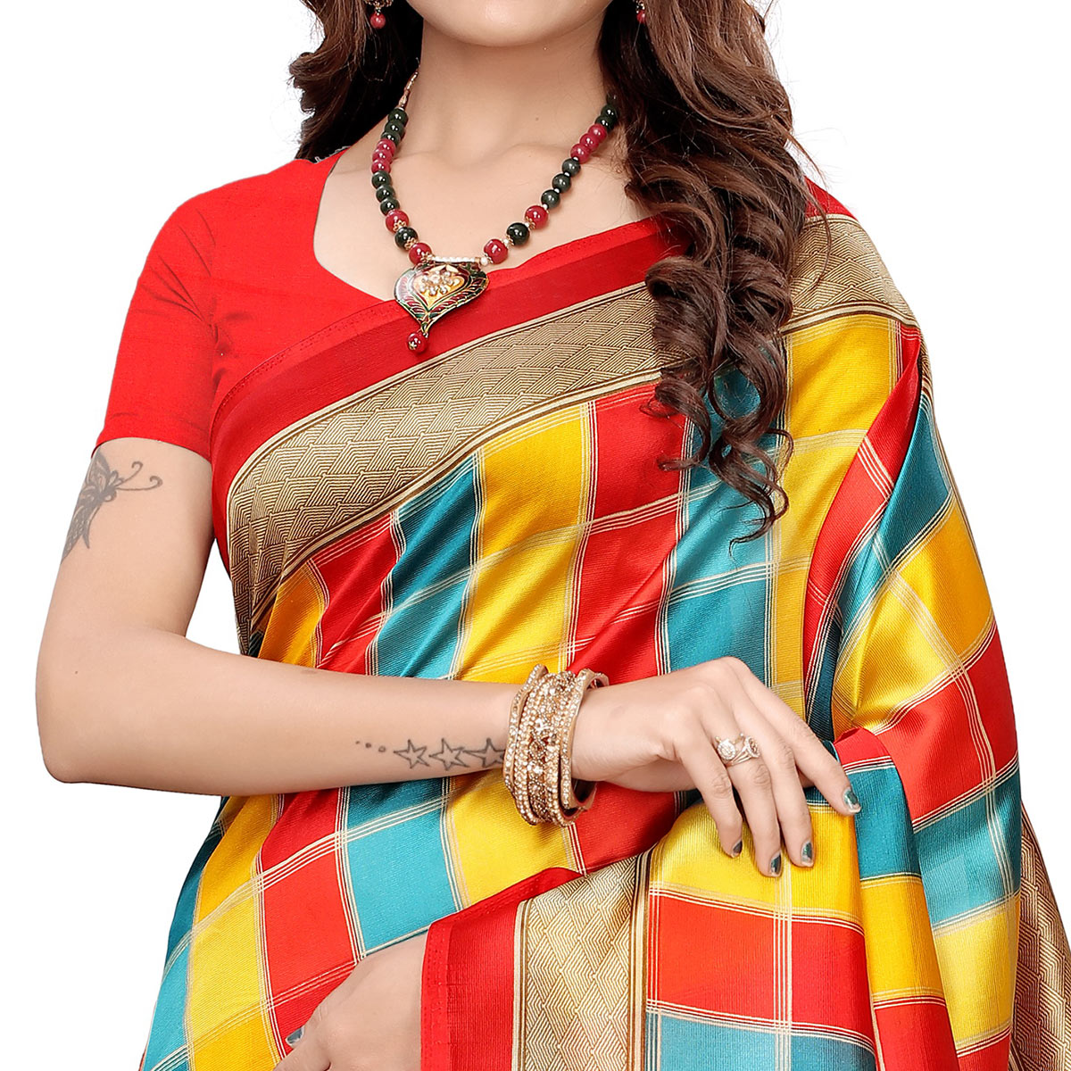 Ideal Red-Yellow Colored Casual Wear Printed Art Silk Saree