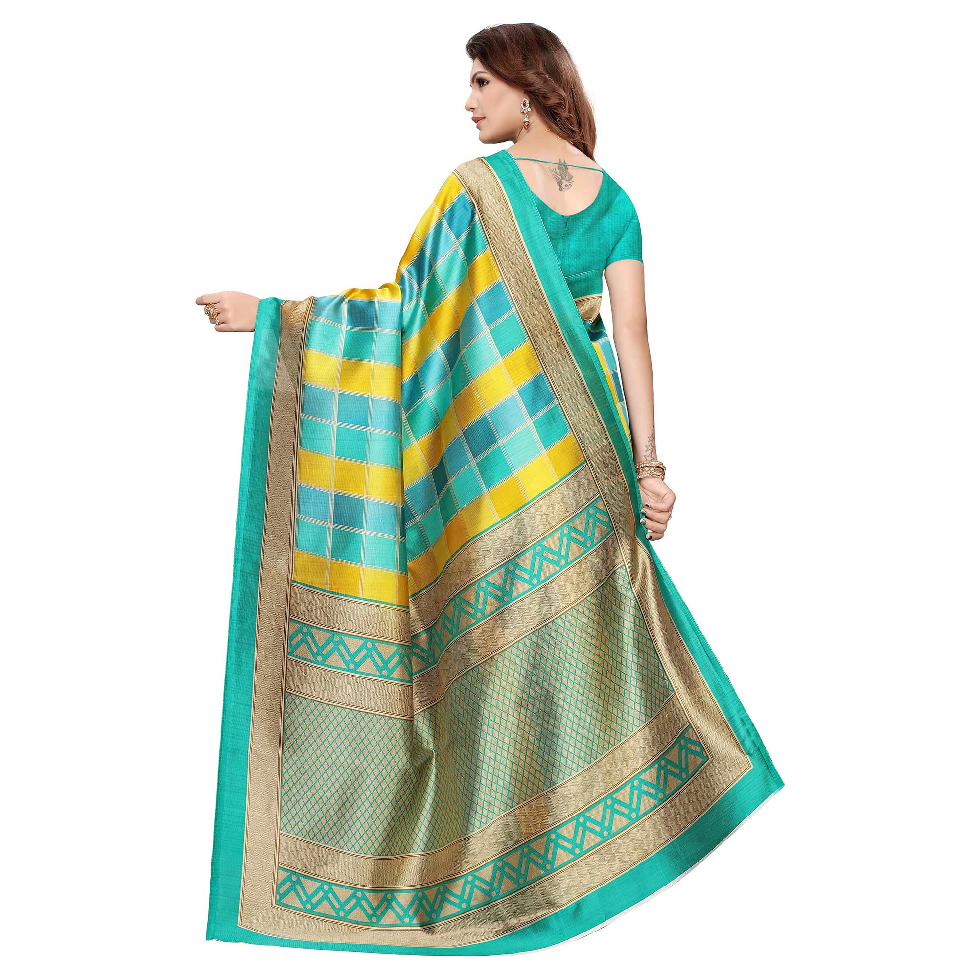 Imposing Green-Yellow Colored Casual Wear Printed Art Silk Saree