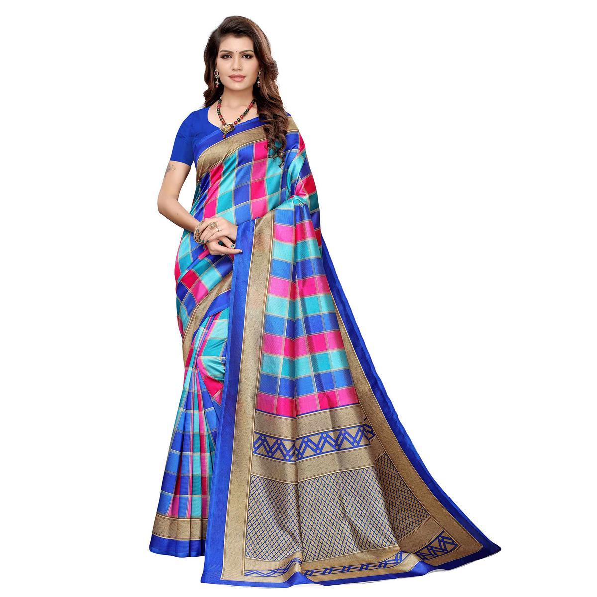 Lovely Blue Colored Casual Wear Printed Art Silk Saree