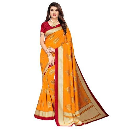 Breathtaking Mustard Yellow Colored Casual Wear Printed Art Silk Saree