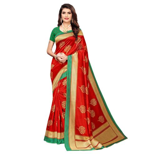 Ethnic Red Colored Casual Wear Printed Art Silk Saree