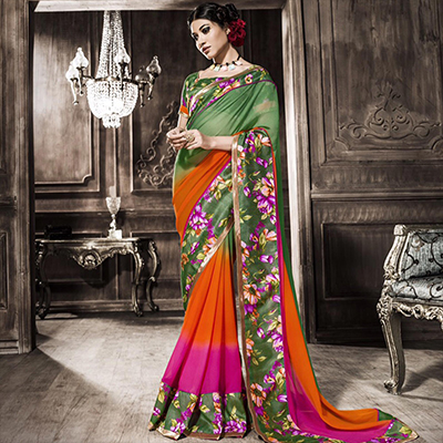 Green - Orange Georgette Saree