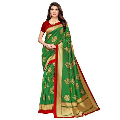 Ravishing Green Colored Casual Wear Printed Art Silk Saree