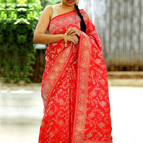 Fantastic Red Colored Festive Wear Woven Jacquard Silk Saree